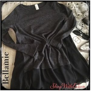 Bellamie Charcoal Gray w/Black Contrast Trim Tunic